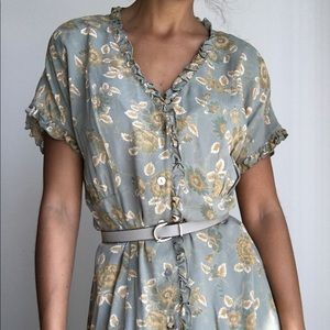 VINTAGE CAROLE LITTLE floral ruffled maxi dress 8